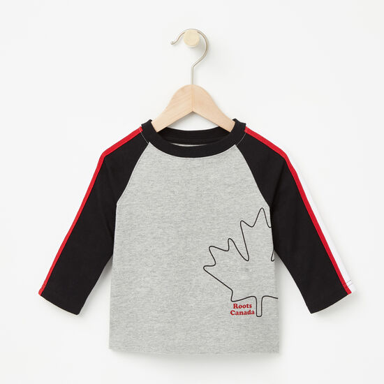 Roots-Kids New Arrivals-Baby Slater Baseball Top-Grey Mix-A