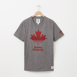 Roots-Men Canada Collection By Roots™-Mens Leaf Bars T-shirt-Salt & Pepper-A