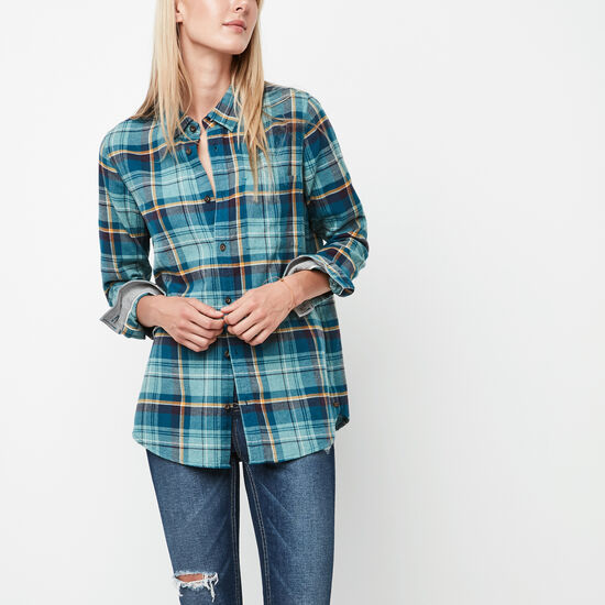 Roots-Women New Arrivals-Varley Plaid Shirt-Arctic Sky Mix-A