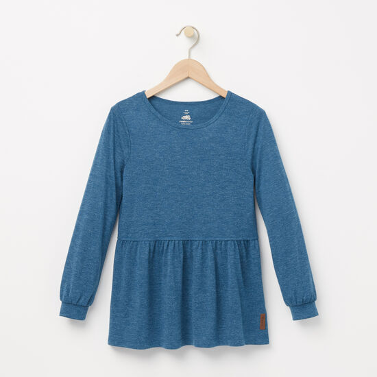 Roots-Kids Tops-Girls Kinglet Top-Blue Coral-A