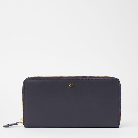 Roots-Leather Women's Wallets-Zip Around Wallet Bridle-Navy-A