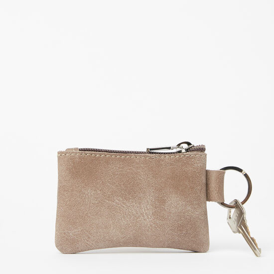 Roots-Leather Leather Pouches-Top Zip Key Pouch Tribe-Fawn-A