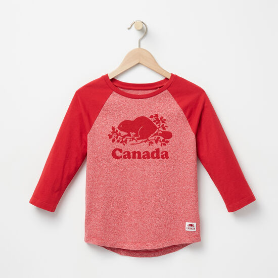 Roots-Kids T-shirts-Girls Canada Baseball T-shirt-Sage Red Pepper-A