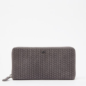 Roots-Leather Women's Wallets-Zip Around Wallet Woven-Charcoal-A