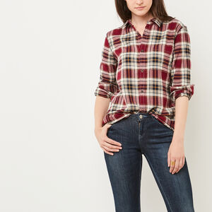 Roots-Women Shirts-Varley Plaid Shirt-Rhododendron-A