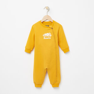 Roots-Kids Rompers & Onesies-Baby Original Cooper Beaver Romper-Yellow Shadow-A