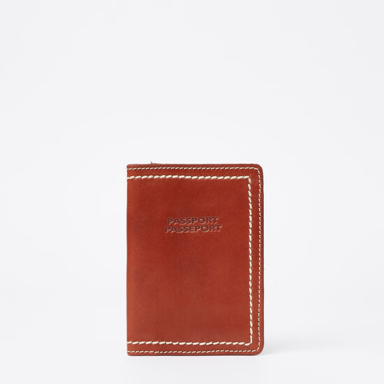 Roots-Leather Vegetable Tanned Leather-Passport Holder Veg-Oak-A