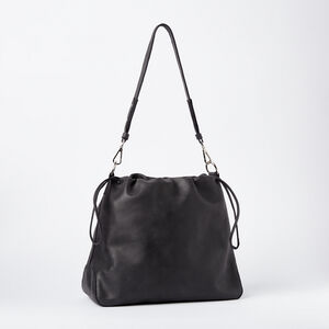 Roots-Leather Tribe Leather-Drawstring Hobo Tribe-Jet Black-A