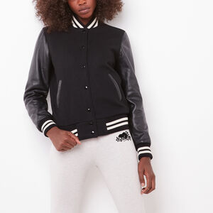 Roots-Leather Award Jackets-Sorority Jacket Melton/Lake-Black-A