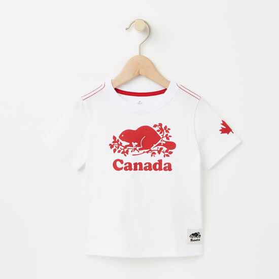 Roots-Kids T-shirts-Toddler Cooper Canada T-shirt-White-A