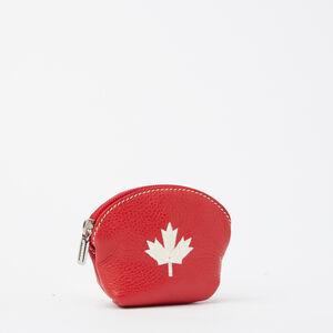 Roots-Women Leather Accessories-Maple Leaf Euro Pouch Prince-Canadian Red-A