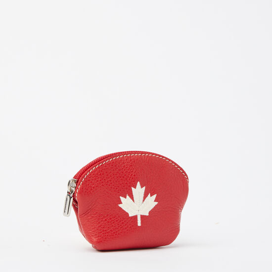 Roots-Leather Leather Accessories-Maple Leaf Euro Pouch Prince-Canadian Red-A