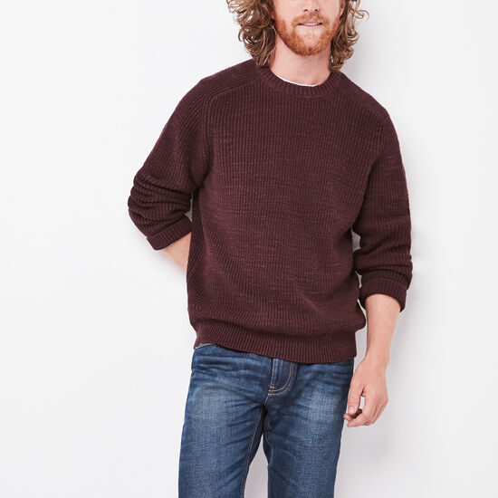 Roots-Men New Arrivals-Douglas Crew Sweater-Crimson Mix-A