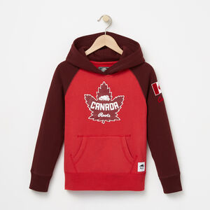 Roots-Kids Tops-Girls Heritage Canada Kanga Hoody-Sage Red-A