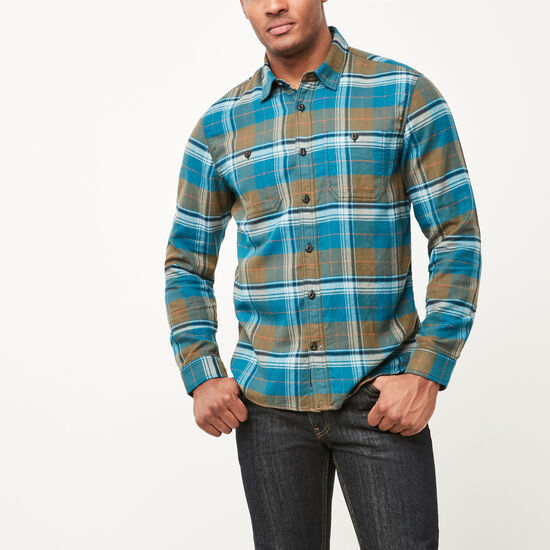 Roots-Men New Arrivals-Rivers Flannel Shirt-Olive Night Green-A