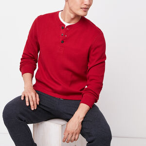 Roots-Hommes Tops À Manches Longues-Chandail Saddle Lake Henley-Rouge Chalet-A