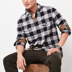 Roots-Men Plaids-Algonquin Flannel Shirt-Grey Mix-A