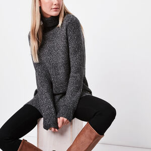Roots-Women Sweaters & Cardigans-Roslyn Tunic-Charcoal Mix-A