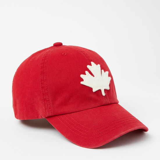 Roots-Women Hats-Canada Leaf Baseball Cap-Sage Red-A