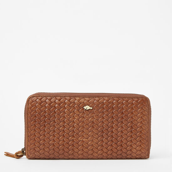 Roots-Leather Women's Wallets-Zip Around Clutch Woven-Africa-A