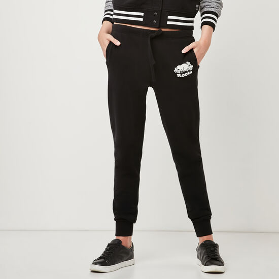 Roots-Women Slim Sweatpants-Original Slim Cuff Sweatpant-Black-A