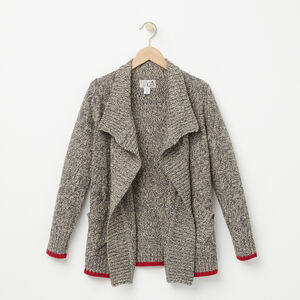 Roots-Kids Girls-Girls Roots Cabin Waterfall Cardigan-Grey Oat Mix-A