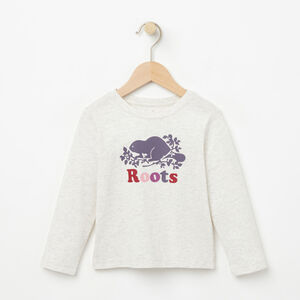 Roots-Kids T-shirts-Toddler Cooper Beaver T-shirt-White Grey Mix-A