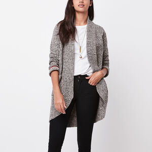 Roots-Women Tops-Cotton Cabin Sweater Cardigan-Grey Oat Mix-A