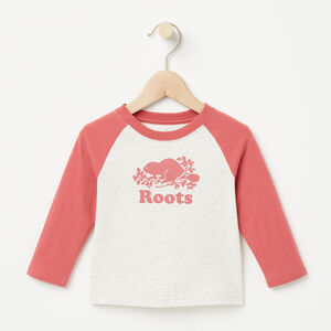 Roots-Kids T-shirts-Baby Contrast Cooper Beaver T-shirt-White Grey Mix-A