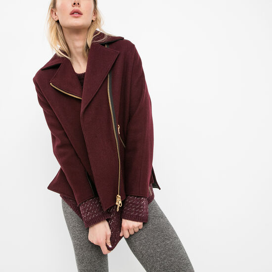 Roots-Women Leather Jackets-Charlotte Coat Melton-Burgundy-A
