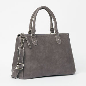 Roots-Leather Bestsellers-Small Grace Bag Tribe-Charcoal-A