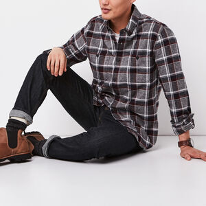 Roots-Men Plaids-Woodland Herringbone Shirt-Charcoal Mix-A