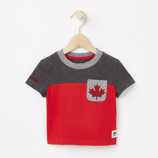 Roots-Kids T-shirts-Baby Canada Blocked Pocket Top-Charcoal Mix-A