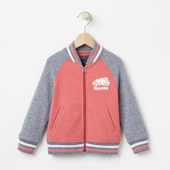 Roots-Kids Tops-Toddler Eloise Varsity Bomber-Baroque Rose-A