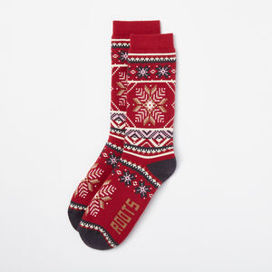 Roots-Women Socks-Womens Sooke Boot Sock-Lodge Red Mix-A