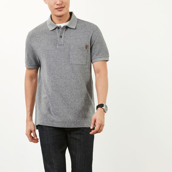 Roots-Sale Men's-Heritage Peppered Polo-Salt & Pepper-A