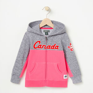 Roots-Kids Canada Collection-Toddler Heritage Script Full Zip Hoody-Pink Flambé-A