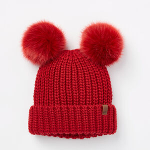 Roots-Kids Accessories-Girls Olivia Pom Pom Toque-Lodge Red-A