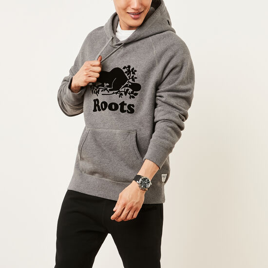 Roots-Men Tops-Original Kanga Hoody-Medium Grey Mix-A