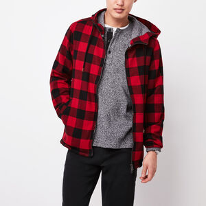 Roots-Men Plaids-Bonita Flannel Hoody-Lodge Red-A