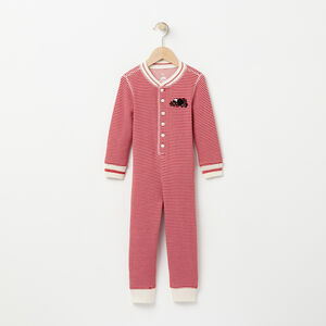 Roots-Kids Pajamas-Toddler Mini Stripe Buddy Long John-Lodge Red-A