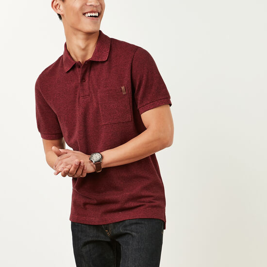 Roots-Sale Men's-Heritage Peppered Polo-Bossa Nova Pepper-A