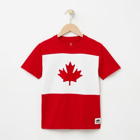 Roots-Kids Features-Boys Blazon Maple T-shirt-Sage Red-A