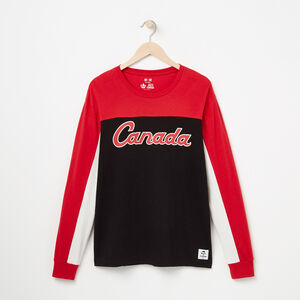 Roots-Men Graphic T-shirts-Canada Script Long Sleeve T-shirt-Sage Red-A