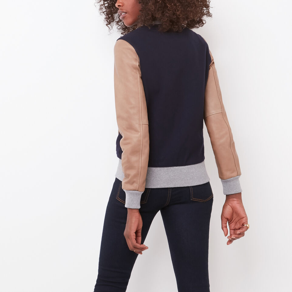Roots-undefined-Womens Lightweight Jacket Melton/Leather-undefined-B