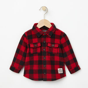 Roots-Kids Baby Girl-Baby Buffalo Check Shirt-Lodge Red-A