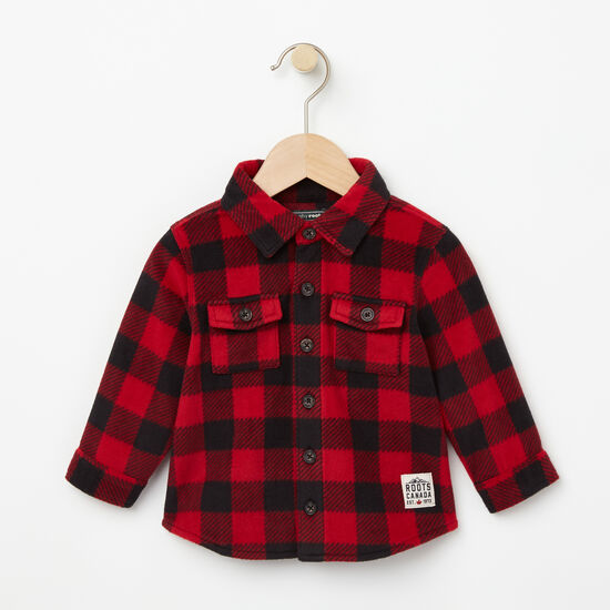 Roots-Kids New Arrivals-Baby Buffalo Check Shirt-Lodge Red-A