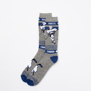 Roots-Men Socks-Mens Centre Ice Boot Sock-Blue Depths-A