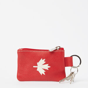 Roots-Men Leather Accessories-Maple Leaf Top Zip Pouch Prince-Canadian Red-A