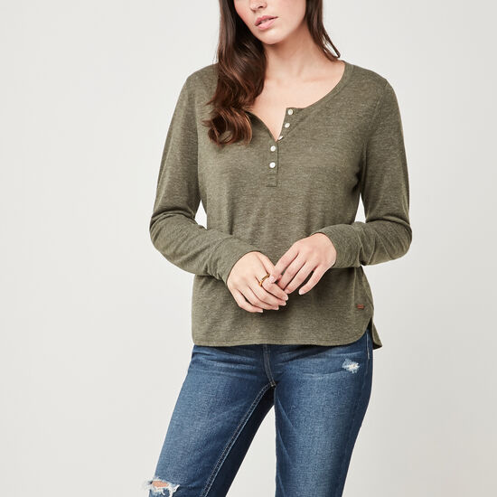 Roots-Women Long Sleeve T-shirts-Jules Henley-Olive Night Grn Mix-A